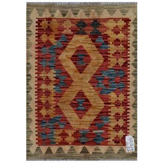 Afghan Hand-woven Kilim Red/ Gold Wool Rug (2'1 x 2'10)
