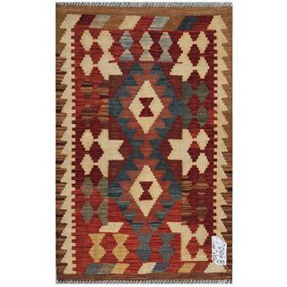 Afghan Hand-woven Kilim Brown/ Beige Wool Rug (1'11 x 2'11)