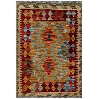 Afghan Hand-woven Kilim Gold/ Red Wool Rug (2'2 x 3'1)
