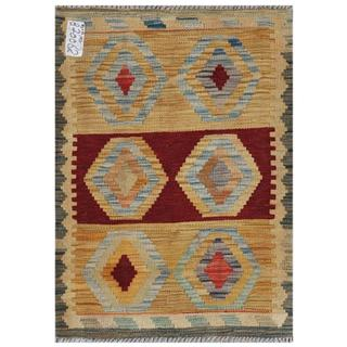 Afghan Hand-woven Kilim Gold/ Red Wool Rug (2'2 x 3')