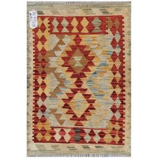 Afghan Hand-woven Kilim Red/ Gold Wool Rug (2'2 x 3')