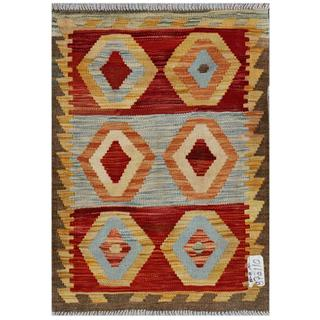 Afghan Hand-woven Kilim Red/ Gold Wool Rug (2'1 x 2'11)