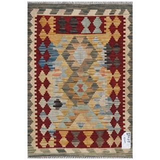 Afghan Hand-woven Kilim Gold/ Red Wool Rug (2'1 x 3')