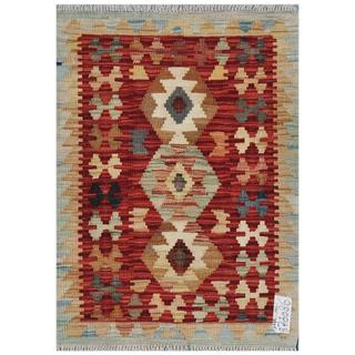Afghan Hand-woven Kilim Red/ Gold Wool Rug (2'2 x 2'11)