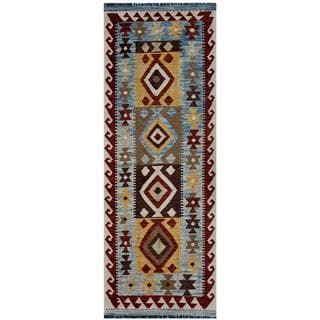 Afghan Hand-woven Kilim Blue/ Red Wool Rug (2'4 x 6'7)