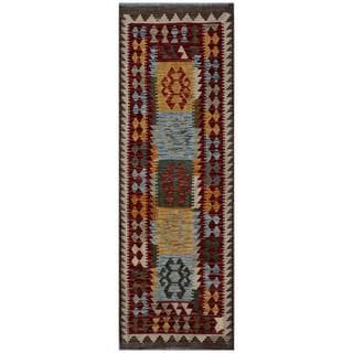 Afghan Hand-woven Kilim Red/ Gold Wool Rug (2'4 x 6'10)