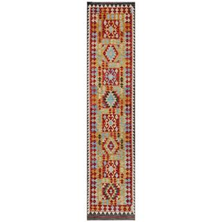Afghan Hand-woven Kilim Red/ Gold Wool Rug (2'8 x 12'6)