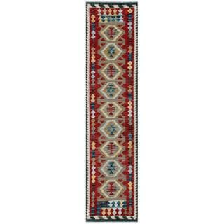 Afghan Hand-woven Kilim Red/ Grey Wool Rug (2'5 x 9'8)