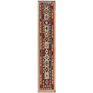 Afghan Hand-woven Kilim Red/ Navy Wool Rug (2'6 x 13')