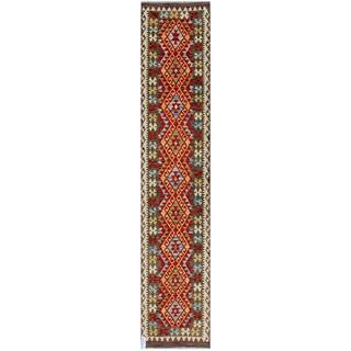 Afghan Hand-woven Kilim Red/ Gold Wool Rug (2'7 x 12'6)