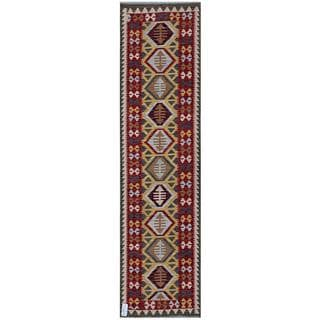 Afghan Hand-woven Kilim Red/ Blue Wool Rug (2'6 x 9'8)