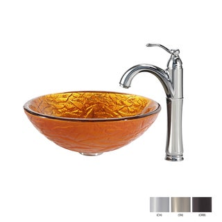 Kraus Blaze Glass Vessel Sink and Riviera Faucet