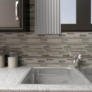 SomerTile 11.75x12.25-in Reflections Grand Piano Basalt Glass/ Stone Mosaic Tile (Pack of 10)