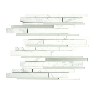 SomerTile 11.75x12.25-in Reflections Grand Piano White Glass/ Carrara Marble Mosaic Tile (Pack of 10)