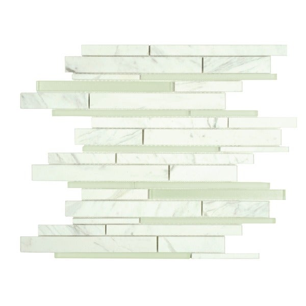 SomerTile 11.75 x 12.25-inch Reflections Grand Piano White Glass and Carrara Marble Mosaic Wall Tile (Case of 10)