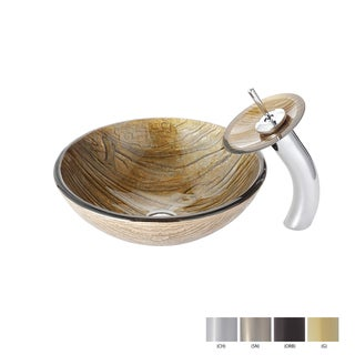 Kraus Terra Glass Vessel Sink and Waterfall Faucet