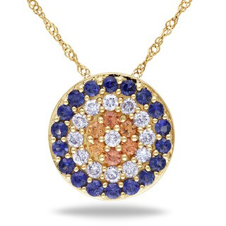 Miadora Signature Collection 14k Yellow Gold Sapphire and 1/3ct TDW Diamond Necklace (G-H, SI1-SI2)