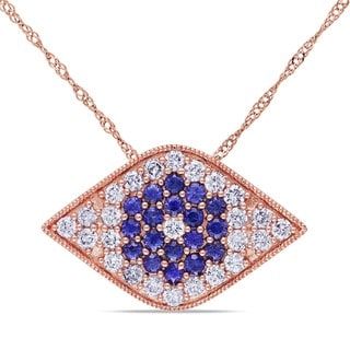 Miadora 14k Rose Gold Sapphire and 5/8ct TDW Diamond Necklace (G-H, SI1-SI2)
