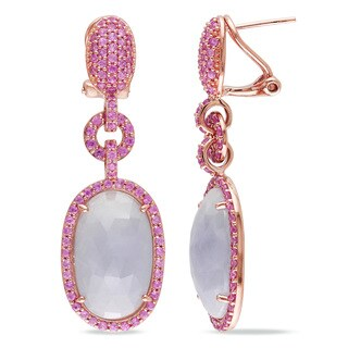 Miadora Signature Collection 14k Rose Gold 20 1/2ct TGW Pink Sapphire and Light Blue Sapphire Earrings