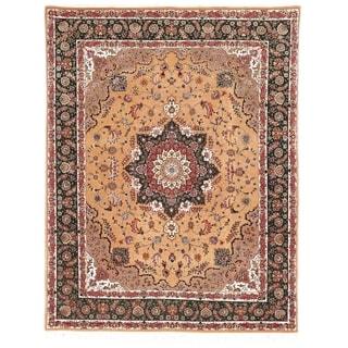 Safavieh Hand-knotted Tabriz Floral Navy/ Beige Wool/ Silk Rug (10' x 14')