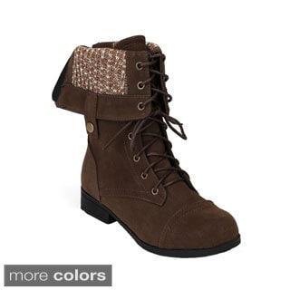 Bumper Women's 'Freda-17' Mid-calf Combat Boots