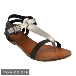 Jacobies Women's 'Vitany-14' Two-tone Flat Sandals