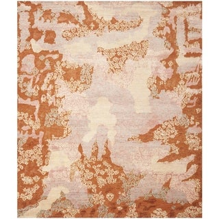 Safavieh Hand-knotted Santa Fe Modern Abstract Rust/ Multi Wool Rug