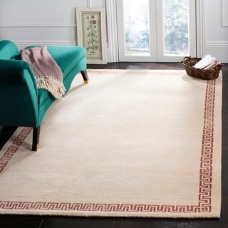 Safavieh Hand-knotted Suzanne Kasler Cream/ Rose Wool/ Silk Rug (9' x 12')