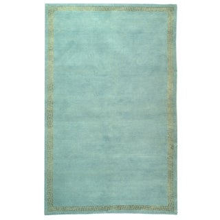 Safavieh Hand-knotted Suzanne Kasler Aqua/ Gold Wool/ Silk Rug (9' x 12')