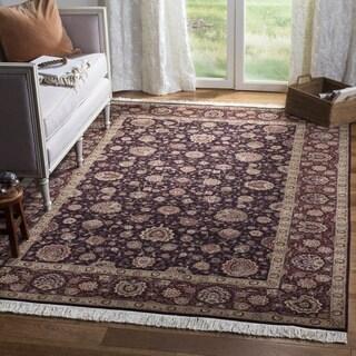 Safavieh Hand-knotted Tabriz Floral Palm/ Burgundy Wool/ Silk Rug (9' x 12')