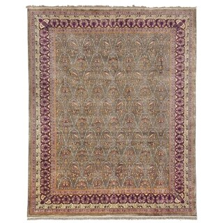 Safavieh Hand-knotted Ganges River Green/ Lavender Wool Rug (9' x 12')
