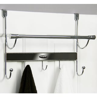 Samsonite Chrome/ Onyx 5-hook Over The Door Hanger and Towel Bar