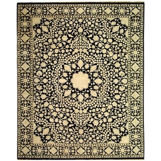 Safavieh Hand-knotted Ganges River Black/ Ivory Wool Rug (6' x 9')