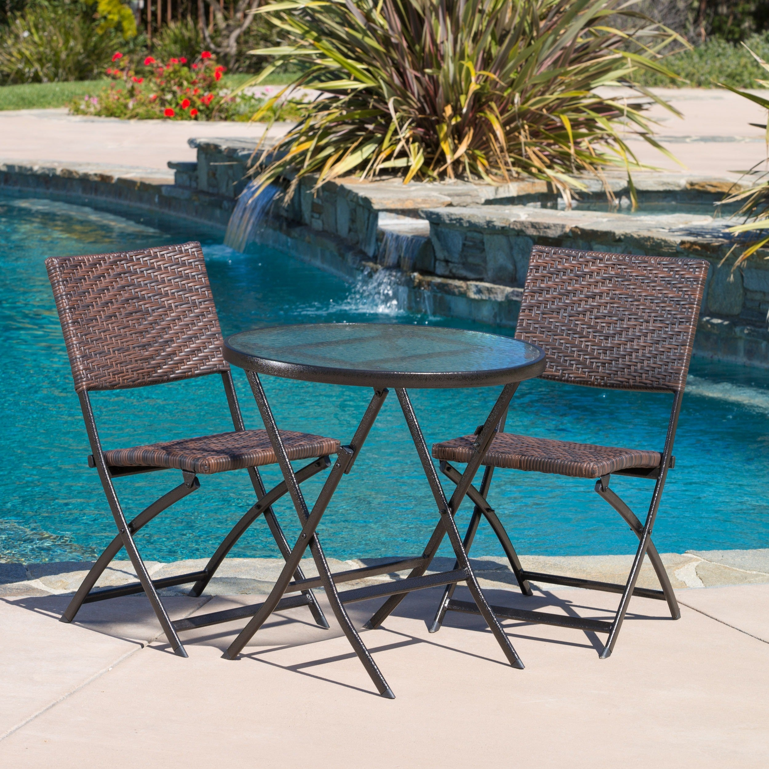 3 piece folding portable patio bistro chair table outdoor