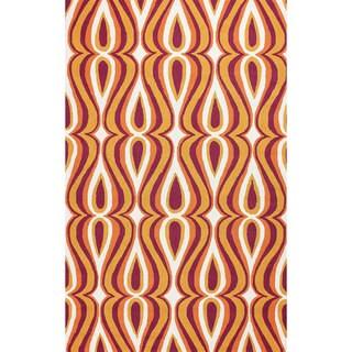 nuLOOM Hand-hooked Modern Swoosh Orange Rug (8' 6 x 11' 6)
