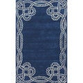 nuLOOM Handmade Bordered Rope Blue Wool Runner (8'6 x 11'6)