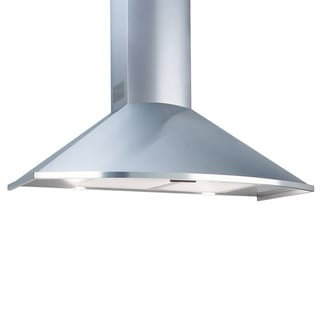 Deco Curved Trapezoidal 36-inch Stainless Steel Range Hood; Wall Mounted