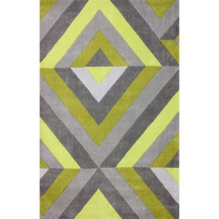 nuLOOM Hand-tufted Modern 3D Chartreuse Rug (8' 6 x 11' 6)