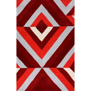 nuLOOM Hand-tufted Modern 3D Red Rug (8' 6 x 11' 6)