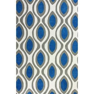 nuLOOM Hand-tufted Modern Circle Trellis Blue Rug (7' 6 x 9' 6)