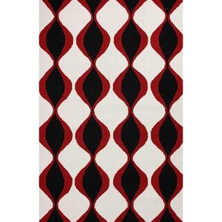 nuLOOM Hand-hooked Indoor/ Outdoor Trellis Black Rug (7' 6 x 9' 6)