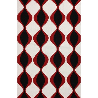 nuLOOM Hand-hooked Indoor/ Outdoor Trellis Black Rug (8' 6 x 11' 6)