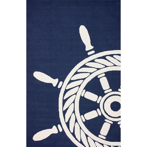 Nautical Patio Rug: NuLOOM Hand-hooked Nautical Wheel Indoor/ Outdoor Navy Rug