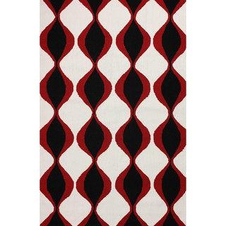 nuLOOM Hand-hooked Indoor/ Outdoor Trellis Black Rug (5' x 8')