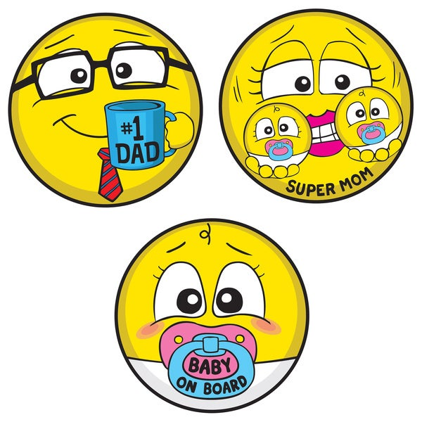 Motocons Parent's Pack 3-piece Car Magnet Set