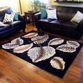 Skinz Black Animal Skin Leaf Area Rug (5'x7')