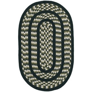 Safavieh Hand-woven Reversible Braided Ivory/ Dark Green Rug (2'6 x 4' Oval)