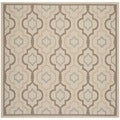 Safavieh Indoor/ Outdoor Courtyard Beige/ Dark Beige Rug (7'10 Square)