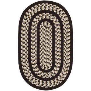 Safavieh Hand-woven Reversible Braided Ivory/ Dark Brown Rug (3' x 5' Oval)