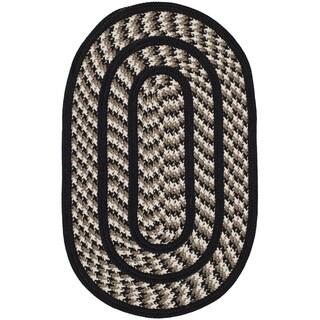 Safavieh Hand-woven Reversible Braided Ivory/ Black Rug (3' x 5' Oval)